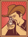 Cowboy shooting a rifle Royalty Free Stock Images