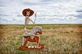 Cowboy skeleton riding a rocking horse in a field Royalty Free Stock Images