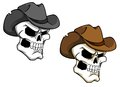 Cowboy skull in brown hat for tattoo or mascot Stock Images