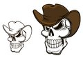 Cowboy skull in hat for mascot or tattoo design Royalty Free Stock Photos