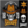 Cowboy Skull in the Hat and Sheriffs star