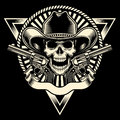 Cowboy skull with revolver fully editable vector illustration of on isolated black background image suitable for emblem insignia Stock Image
