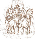 Cowboy stagecoach driver horses Stock Photography