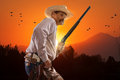 Cowboy at sunset this man is a real nikon d nikon mm g lens Stock Images