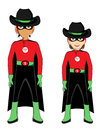 Cowboy super kids two superheroes characters isolated objects Stock Image