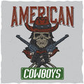 Cowboy t-shirt label design with illustration of skull ath the hat with two guns at the hands.
