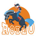 Cowboy on wild horse with text isolated on white rodeo flat style of illustration Stock Photography