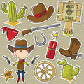 Cowboy with wild west objects cute elements Stock Image