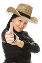 Cowboy woman on a white background. Stock Image
