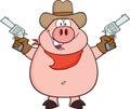 Cowboypig cartoon character hållande upp två revolvrar Royaltyfria Bilder