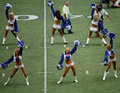 Cowboys Cheerleaders and Camera Men Stock Image