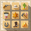 Cowboys and Wild West, flat icon set