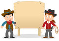 Cowboys and wooden banner two cartoon cowboy kids boy girl with blank isolated on white background Royalty Free Stock Photography