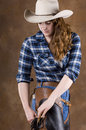 Cowgirl in blue Royalty Free Stock Photo