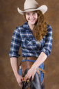 Cowgirl in blue Royalty Free Stock Photography