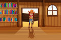 A cowgirl holding a rope beside the three wooden shelves with bo illustration of books Stock Photos