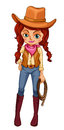 A cowgirl illustration of on white background Royalty Free Stock Images