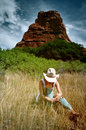 Cowgirl in the mountains Royalty Free Stock Photo