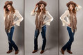 Cowgirl Triptych Royalty Free Stock Photos