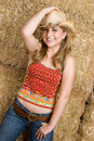 Cowgirl Wearing Hat Royalty Free Stock Photo