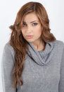 Cowl neck sweater an image of a pretty young woman in a ribbed Royalty Free Stock Image