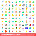 100 coworking icons set, cartoon style