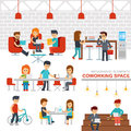 Coworking space infographic elements vector flat design illustration. Royalty Free Stock Photo