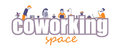 Coworking space text vector concept