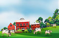 Cows in the farm illustration of Royalty Free Stock Photo