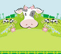 Cows graze in the meadow - abstract  funny illustration Royalty Free Stock Photo