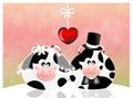 Cows in love abstract illustration Stock Images