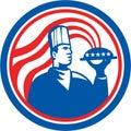 Cozinheiro americano serving food platter do cozinheiro chefe retro Fotografia de Stock Royalty Free