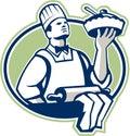 Cozinheiro chefe cook serving pie do padeiro retro Imagem de Stock