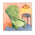 Cozy armchair, cat, book and lamplight, watercolor
