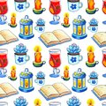 Cozy Autumn seamless pattern. Handdrawn watercolor book and candle on white background.