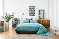 Cozy bedroom in modern design Royalty Free Stock Photo