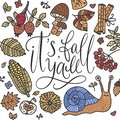 Cozy fall vector illustration. Autumn vector lettering card. Royalty Free Stock Photo