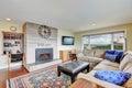 Cozy family room with stone brick wall Royalty Free Stock Photo