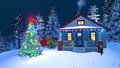 Cozy house decorated for Christmas at night Royalty Free Stock Photo