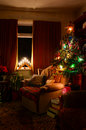 Cozy Indoor Christmas Tree Scene Royalty Free Stock Photo