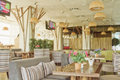 Cozy interior of the cafe-restaurant Royalty Free Stock Photo