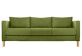 Cozy modern sofa green isolated on white Stock Photo