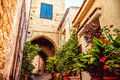 Cozy narrow street in Pano Lefkara village. Limassol District, C Royalty Free Stock Photo