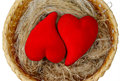 Cozy nest two scarlet fluffy hearts lie in the Royalty Free Stock Photos