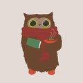 Cozy owl cute with a cup of cappuccino and a book Stock Photo