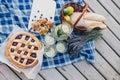 Cozy picnic near lake Royalty Free Stock Photo