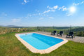 Cozy pool in the park summer outdoors Royalty Free Stock Images