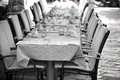 Cozy Restaurant tables ready for service Royalty Free Stock Photo