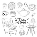 Cozy room, tea time Vector outlined set. Cozy home things like tea, cat, chair, pillows, books, apple pie and other Danish happine