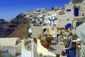 Cozy santorini picture taken in firostefani village greece unique amazing island in the evening there is a gorgeous sunset views Royalty Free Stock Image